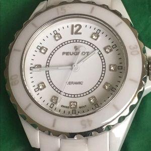 White ceramic link watch